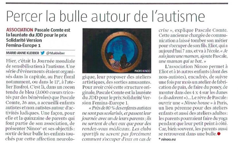 parution Ninoo - Le journal du dimanche Avril 2016